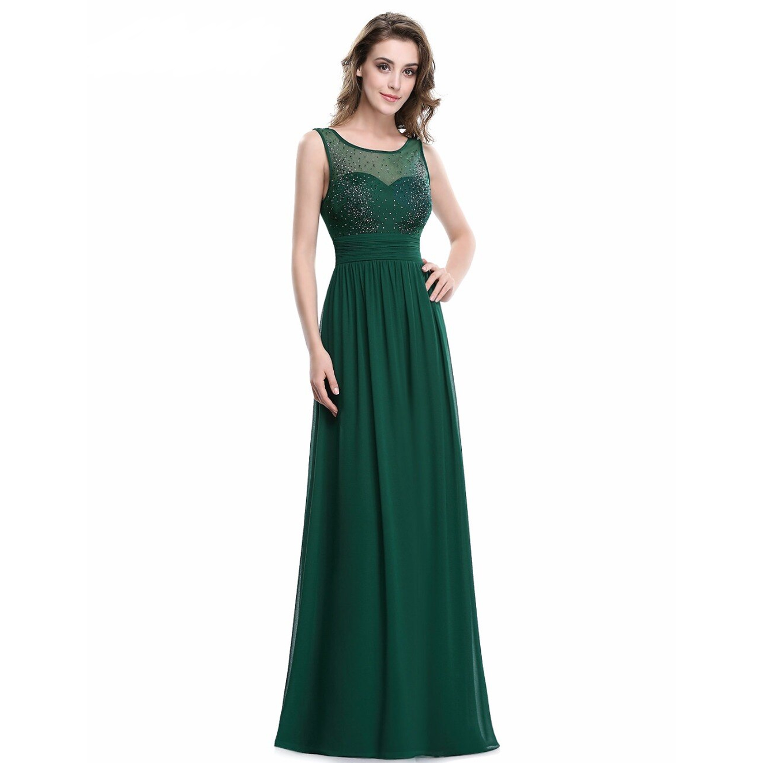 ​Long emerald green bridesmaid dress